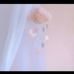 Pink Tulle Cloud Baby Mobile Stars & Moon